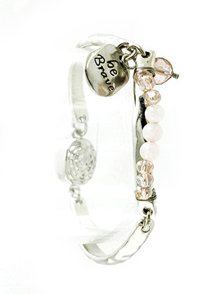 Bracelet / Hammered Segmented Metal / Message Charm / Be Brave / Glass / Natural Stone Bead / Wire Wrapped / Magnetic Closure / 2 1/4 Inch Diameter / 1/2 Inch Drop / Nickel And Lead Compliant