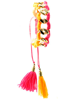 Bracelet / Chunky Curb Chain / Adjustable / Fluorescent Yarn Wrapped / Double Tassel Charm / 2 Inch Diameter / 3/4 Inch Tall / Nickel And Lead Compliant