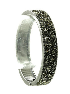 Bracelet / Metallic Stone Cluster / Metal Hinge Bangle / Ribbed Metal / 2 1/2 Inch Diameter / 1/2 Inch Tall / Nickel And Lead Compliant