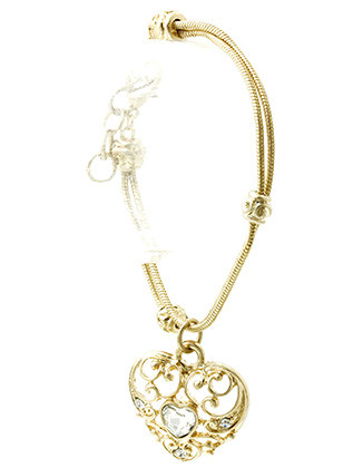 Bracelet / Matte Finish Metal / Heart Charm Chain / Filigree Cutout / Spiral Etched Bead / Crystal Stone / Double Snake Chain / 7 1/2 Inch Long / 1 1/3 Inch Drop / Nickel And Lead Compliant