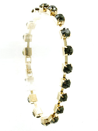 Bracelet / Color Crystal Stone / Chain / Metal Setting / Foldover Clasp / 7 1/2 Inch Long / 1/8 Inch Tall / Nickel And Lead Compliant