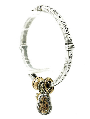 Bracelet / Aged Finish Metal / Flower Charm Stretch / Message / Happy Always / Segmented / Two Tone / Hammered / Metallic Bead / Etched / Crystal Stone / 2 1/4 Inch Diameter / 1 Inch Drop / Nickel And Lead Compliant