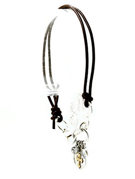 Bracelet / Double Cord / Cross Charm / Message / Have Faith / Two Tone Coin / Cutout Metal Flower / 8 Inch Long / Nickle And Lead Compliant