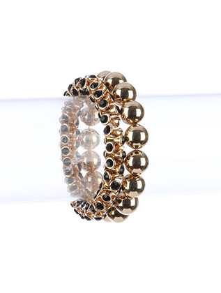 Bracelet / 2 Pc / Stretch Metal / Double Ended Crystal Stone / Round Ball / 2 1/2 Inch Diameter / 1/2 Inch Tall / Nickel And Lead Compliant