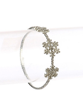 Bracelet / Pave Crystal Stone / Metal Stretch Coil Cuff / Snowflake / 2 1/4 Inch Diameter / 3/4 Inch Tall / Nickel And Lead Compliant