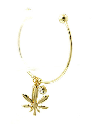Bracelet / Metal Leaf / Crystal Stone Charm Cuff / Block / 2 1/2 Inch Diameter / 1 1/3 Inch Drop / Nickel And Lead Compliant