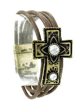 Bracelet / Aged Finish Metal / Cross Multi Cord / Pattern Etched / Natural Stone / Magnetic Closure / 7 1/2 Inch Long / 1 1/8 Inch Tall / Nickel And Lead Compliant