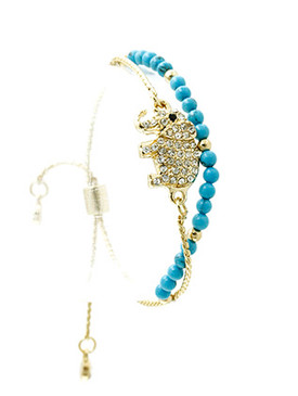 Bracelet / Pave Crystal Stone / Metal Elephant Chain / Natural Stone / Metallic Bead / Serpentine Chain / Adjustable / 2 Inch Diameter / 1/2 Inch Tall / Nickel And Lead Compliant