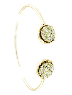 Bracelet / Shimmer Finish Natural Stone / Wire Cuff / Druzy Style / 2 1/2 Inch Diameter / 1/2 Inch Tall / Nickel And Lead Compliant