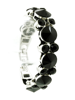 Bracelet / Faceted Glass Stone / Faux Leather Band / Double Strand / Metal Setting / Foldover Clasp Closure / 8 Inch Long / 7/8 Inch Tall / Nickel And Lead Compliant