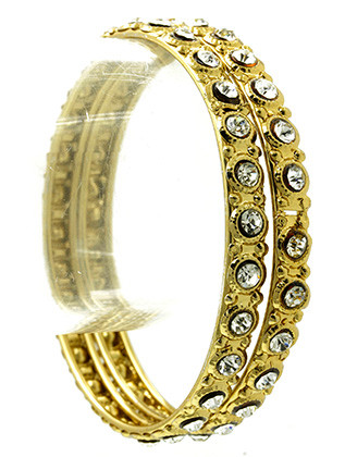 Bracelet / 2 Pc / Crystal Stone Bangle / Textured Metal / 2 2/3 Inch Diameter / 1/2 Inch Tall / Nickel And Lead Compliant