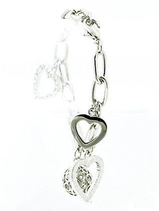 Bracelet / Metal Heart Charm / Chain / Disco Ball / Cutout / Crystal Stone / 7 1/2 Inch Long / 1 1/4 Inch Drop / Nickel And Lead Compliant