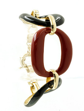 Bracelet / Epoxy Coated Metal / Chunky Link Chain / 7 Inch Long / 1 1/3 Inch Tall / Nickel And Lead Compliant