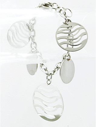 Bracelet / Metal Disc Charm / Chain / Wave Pattern Cutout / 7 Inch Long / 1 3/4 Inch Drop / Nickel And Lead Compliant