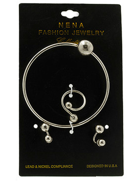 Bracelet / Metal Ball / Ring And Earring Set / Doublesided / 2 3/4 Inch Diameter / Nickel And Lead Compliant