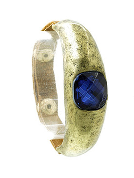 Bracelet / Curved Metal / Metallic Leather Band / Aged Finish Metal / Faceted Lucite Stone / Snap Button Closure / Adjustable / 2 1/8 Inch Diameter / 5/8 Inch Tall / Nickel And Lead Compliant