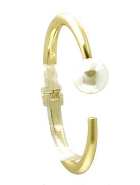 Bracelet / Pearl / Metal Hinge Bangle / 2 5/8 Inch Diameter / 5/8 Inch Tall / Nickel And Lead Compliant