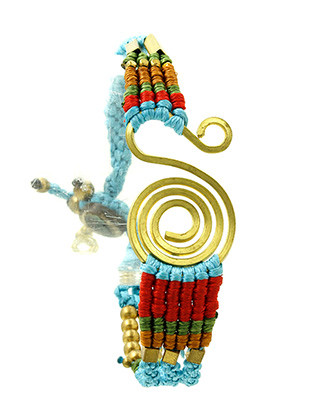 Bracelet / Metal Spiral / Braided Yarn Band / Matte Finish / Metallic Bead / Button And Loop Closure / 8 Inch Long / 1 Inch Tall / Nickel And Lead Compliant