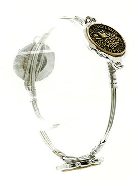 Bracelet / Coin / Multi Wire Bangle / Aged Finish Metal / Hammered / Two Tone / 2 3/4 Inch Diameter / 7/8 Inch Tall / Nickel And Lead Compliant