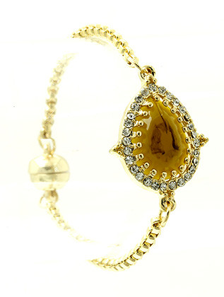 Bracelet / Teardrop Natural Stone / Box Chain / Pave Crystal Stone / Metal Setting / Magnetic Closure / 7 1/4 Inch Long / 7/8 Inch Tall / Nickel And Lead Compliant
