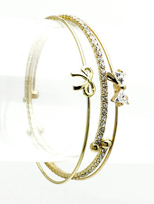 Bracelet / Metal Bow / 3 Pc Cuff / Crystal Stone / 2 1/4 Inch Diameter / Nickel And Lead Compliant