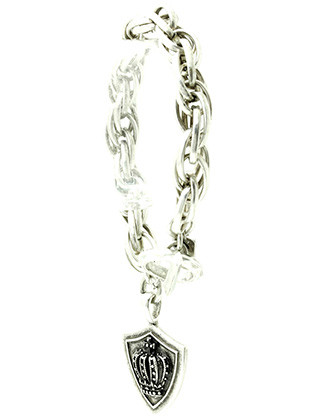 Bracelet / Chunky Chain Metal / Crown And Shield Charm / Aged Metal / Toggle Closure / 8 Inch Long / 1 1/2 Inch Drop / Nickel And Lead Compliant