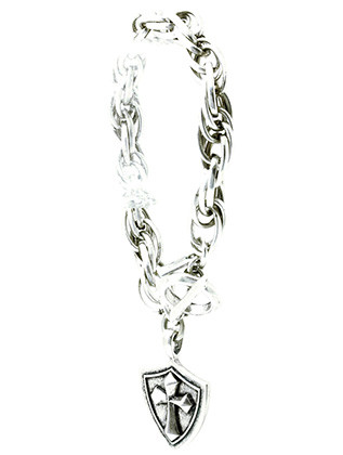 Bracelet / Chunky Chain Metal / Cross And Shield Charm / Aged Metal / Toggle Closure / 9 Inch Long / 1 1/2 Drop / Nickel And Lead Compliant