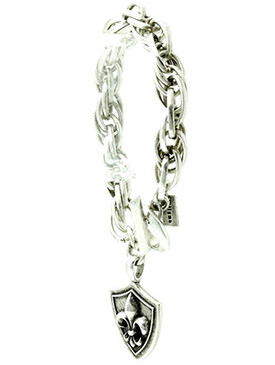 Bracelet / Chunky Chain Metal / Crown And Shield Charm / Aged Metal / Toggle Closure / 8 1/2 Inch Long / 1 1/2 Inch Drop / Nickel And Lead Compliant