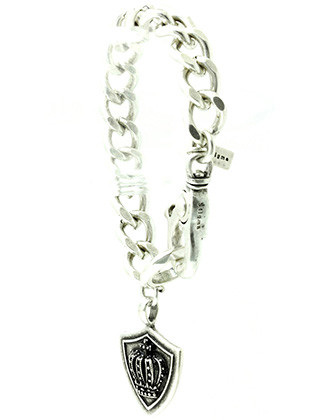 Bracelet / Chunky Chain Metal / Crown And Shield Charm / Aged Metal / Pave Crystal Stone / Lobster Claw Closure / 8 1/2 Inch Long / 1 1/2 Inch Drop / Nickel And Lead Compliant