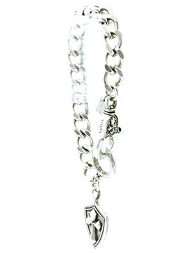 Bracelet / Chunky Chain Metal / Cross And Shield Charm / Aged Metal / Pave Crystal Stone / Lobster Claw Closure / 9 Inch Long / 1 1/2 Drop / Nickel And Lead Compliant
