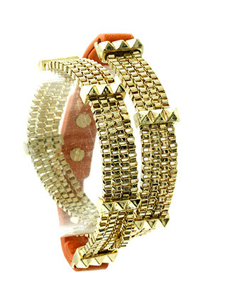 Bracelet / Leather Band / Box Chain Wraparound / Metal Spike / 14 Inch Long / 3/8 Inch Tall / Nickel And Lead Compliant