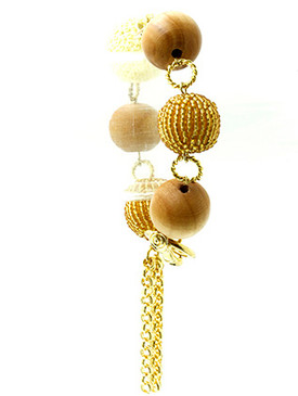 Bracelet / Wooden Ball / Twisted Link Chain / Seed Bead / Crochet Cover / Chain Tassel / Toggle Closture / 8 Inch Long / 2 Inch Drop / Nickel And Lead Compliant