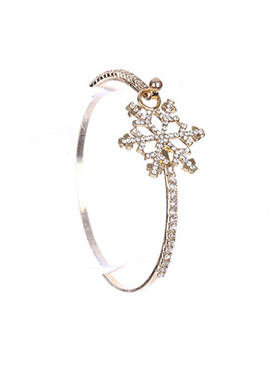Bracelet / Metal Bangle / Pave Crystal Stone / Snowflake Cutout / Hook Closure / 2 1/4 Inch Diameter / 1 Inch Tall / Nickel And Lead Compliant