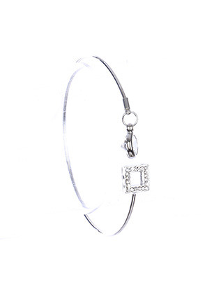 Bracelet / Metal Wire Cuff / Pave Crystal Stone / Glass Stone / Square Cutout / 2 1/4 Inch Diameter / 1/4 Inch Drop / Nickel And Lead Compliant
