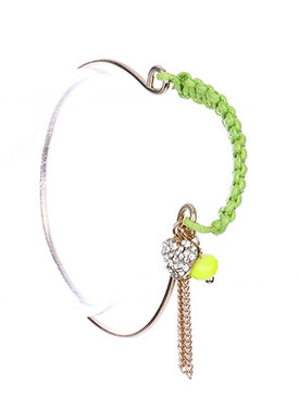 Bracelet / Woven Neon Cord / Wire Bangle / Tassel Chain / Heart Charm / Lucite Bead / 2 1/4 Inch Diameter / 3/4 Inch Drop / Nickel And Lead Compliant