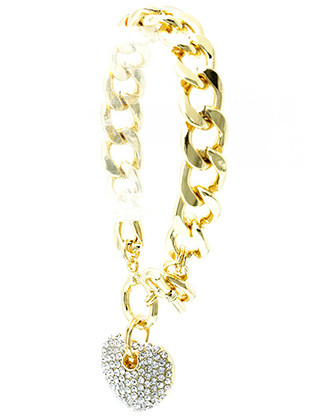 Bracelet / Metal Heart Charm / Chunky Chain / Pave Crystal Stone / Cutout Hollow Metal / Curb Chain / Toggle Closure / 8 Inch Long / 1 1/2 Inch Drop / Nickel And Lead Compliant