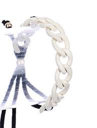Bracelet / Chunky Metal Chain / Adjustable Double Cord / Stretch / Epoxy Coat / Metallic Bead / Link / 2 Inch Diameter / Nickel And Lead Compliant