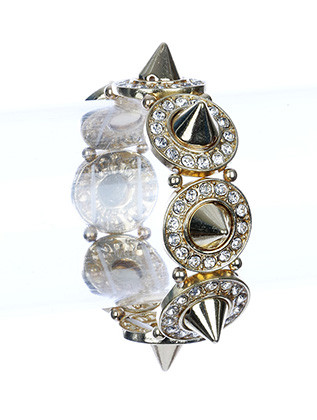 Bracelet / Crystal Stone / Spike Stretch / Textured Round Metal / 2 1/4 Inch Diameter / 7/8 Inch Tall / Nickel And Lead Compliant