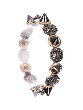 Bracelet / Octogonal Metal / Spike Stretch / Two Tone / Textured / Metallic Stone / 2 1/8 Inch Diameter / 1/3 Inch Tall / Nickel And Lead Compliant