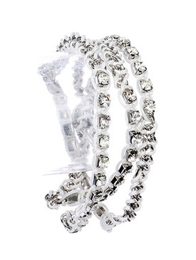 Bracelet / Crystal Stone / Wraparound Chain / Interweaved Color Cord / Button Loop Closure / 28 Inch Long / 1 Inch Tall / Nickel And Lead Compliant