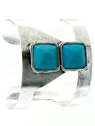 Bracelet / Faceted Lucite Stone / Metal Cuff / Cushion Cut / Aged Finish / Cutout / 2 1/4 Inch Diameter / 2 Inch Tall / Nickel And Lead Compliant