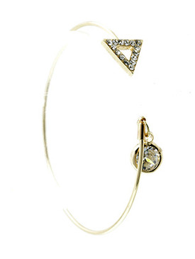 Bracelet / Crystal Stone Charm / Metal Cuff / Triangle Shape / 2 1/4 Inch Diameter / 1/4 Inch Drop / Nickel And Lead Compliant