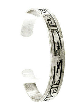Bracelet / Aged Finish Metal / Tribal Pattern Etched / Cuff / 2 1/2 Inch Diameter / 1/3 Inch Tall / Nickel And Lead Compliant