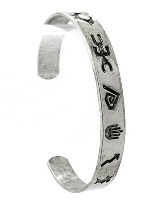 Bracelet / Native American Symbol / Etched Metal Cuff / Aged Finish / 2 1/2 Inch Diameter / 1/3 Inch Tall / Nickel And Lead Compliant