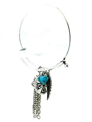 Bracelet / Thunderbird Charm / Bangle / Native American Symbol / Wing / Chain Tassel / Aged Finish Metal / Etched / Natural Stone / 2 1/4 Inch Diameter / 2 Inch Drop / Nickel And Lead Compliant