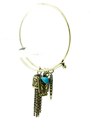 Bracelet / Thunderbird Charm / Bangle / Native American Symbol / Wing / Chain Tassel / Aged Finish Metal / Etched / Natural Stone / 2 1/4 Inch Diameter / 1 3/4 Inch Drop / Nickel And Lead Compliant