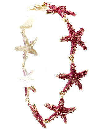 Bracelet / Textured Metal / Starfish Chain / Foldover Magnetic Closure / 8 Inch Long / 3/4 Inch Tall / Nickel And Lead Compliant