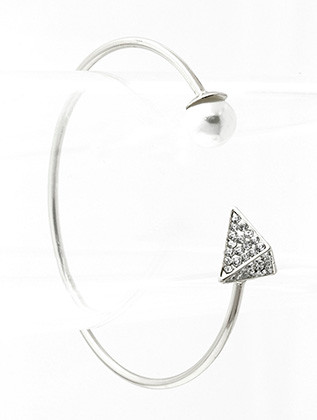 Bracelet / Pearl / Metal Cuff / Pave Crystal Stone / Pyramid / 2 1/2 Inch Diameter / 1/2 Inch Tall / Nickel And Lead Compliant