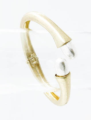 Bracelet / Two Tone Metal / Hinge Cuff / Matte Finish / 2 3/4 Inch Diameter / 3/4 Inch Tall / Nickel And Lead Compliant
