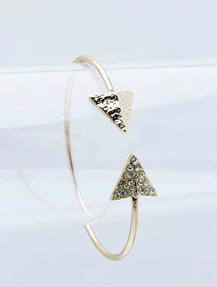 Bracelet / Double Arrowhead / Metal Cuff / Hammered / Pave Crystal Stone / 2 1/2 Inch Diameter / 1/2 Inch Tall / Nickel And Lead Compliant